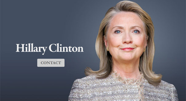 Screen grab from Hillary Clinton's new web site.